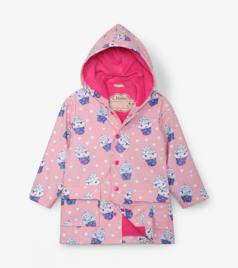 Hatley Colour Changing Raincoat - Cupcakes