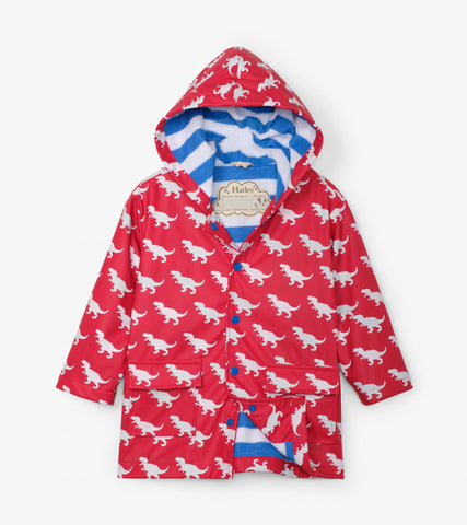 Hatley Colour Changing Raincoat - T- Rex Silhouettes