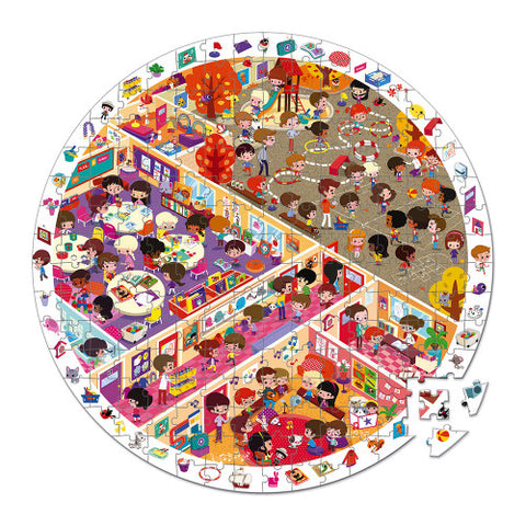 Janod Round Observation Puzzle 208 Pieces - School