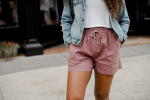 Linen Textured Shorts -Red Bean