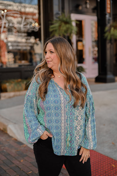 Marnie Marrakesh Tassel Top - Teal