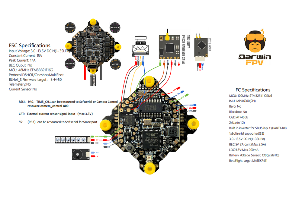 wiring diagram for DarwinFPV 15A AIO for FPV Drone Racing and Freestyle at PyroDrone