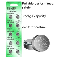 SKOANBE 10Pack SR521SW 379 LR521 AG0 1.5V Button Coin Cell Watch Battery
