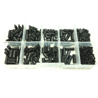 300pcs M2 Nylon Black Hex Screw Nut Spacer Stand-off Varied Length Assortment Kit Box