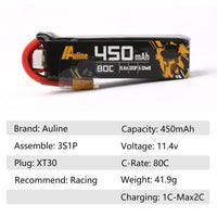 Auline 3S 450mah XT30 Lipo Battery- 2PCS