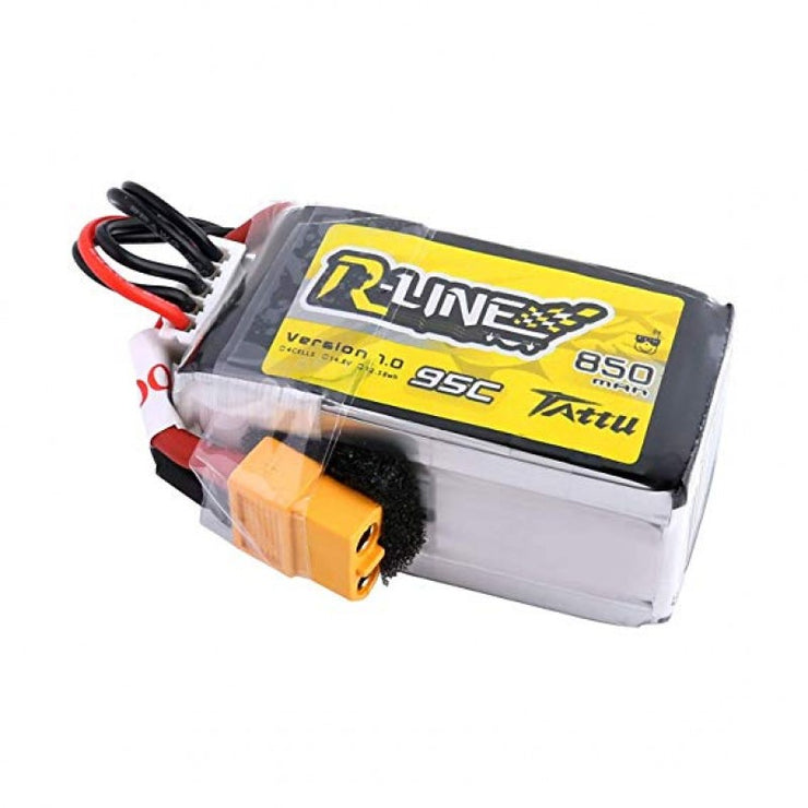 Tattu R-Line 850mAh 14.8V 95C 4S1P Lipo Battery Pack with XT60 Plug