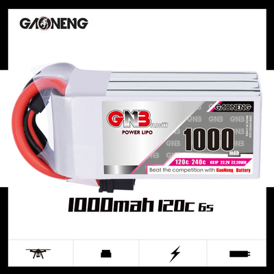 GNB GAONENG 1000mah 6S 22.2V 120c lipo battery for FPV Drone RC