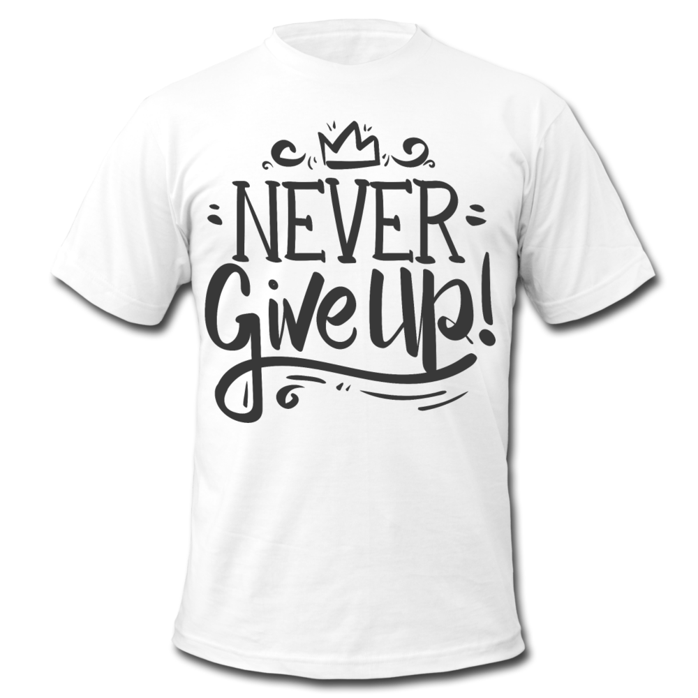 Men's  Jersey T-Shirt - Never Give Up - white