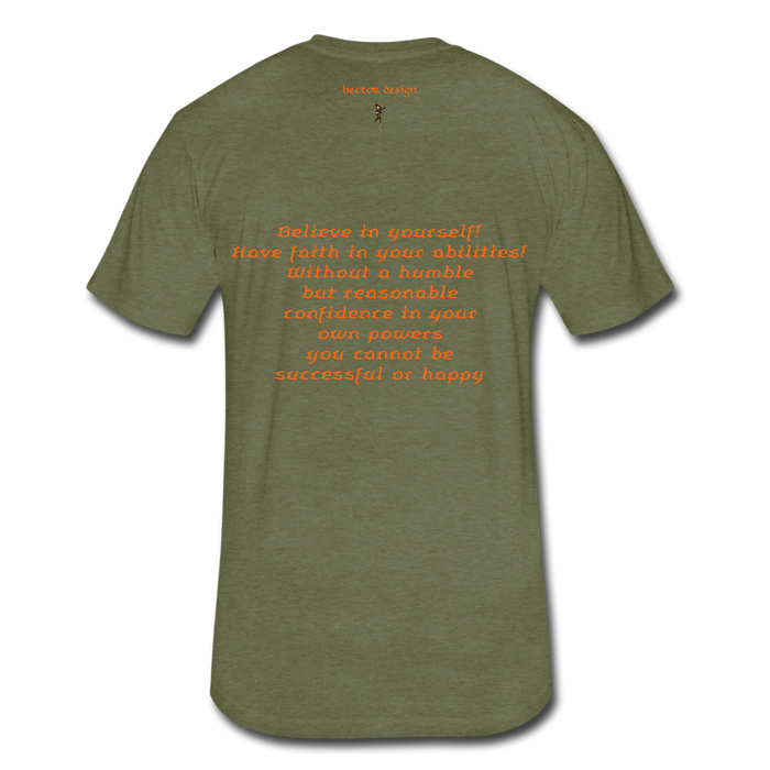 Fitted Cotton/Poly T-Shirt by Next Level - Rooster - heather military green