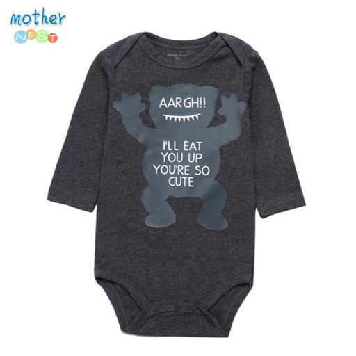 100% Cotton Newborn Baby Bodysuit Dark Grey Print Elastic Infant Boy Clothing O Neck Long Sleeve Baby Jumpsuit for 0-12 Months