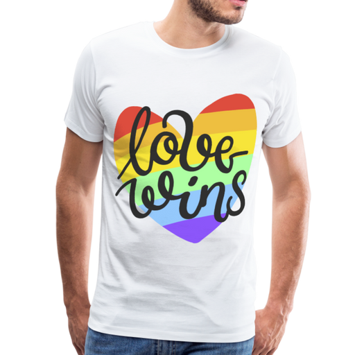 Men's Premium T-Shirt - Love Wins Pride - white