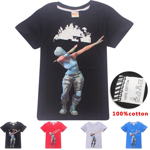 1Piece New Arrival Summer Cartoon Fortnight Skr Kids T-shirt Battle Victory Royal Cloth For Kid Birthday Gift