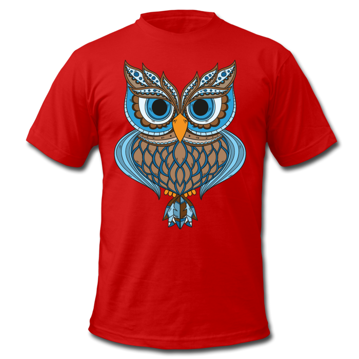 Men's  Jersey T-Shirt - Owl - red