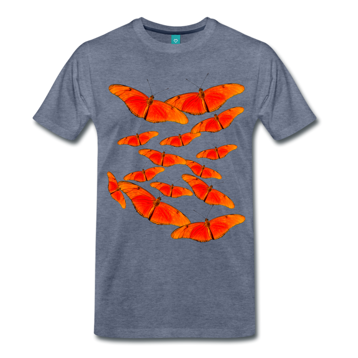 Men's Premium T-Shirt - Butterfly - heather blue