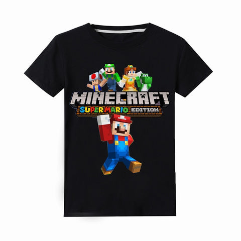 2019 New New Our world Minecraft girls T Shirt Mens Black And White 100% cotton T-shirts Summer Tee Boys Tshirt Tops Bobo Choses
