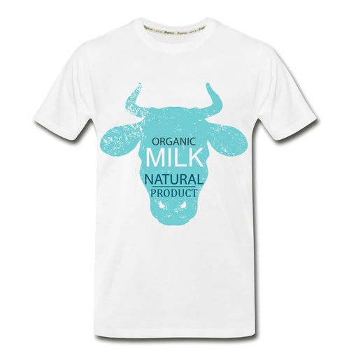 Men's Premium Organic T-Shirt - Cow - white