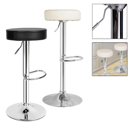 2PCS Height 64.5-84.5cm Bar Stool breakfast dining Bar Chairs Swivel Chrome plated steel Adjustable Kitchen Island Chairs Stools