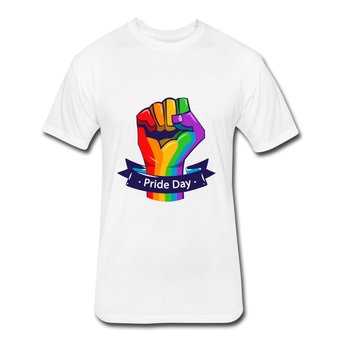 Fitted Cotton/Poly T-Shirt by Next Level - Pride Day - white