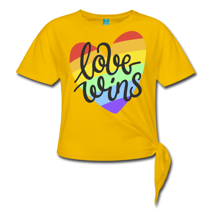 Women' s Knotted T-Shirt - Love Wins Pride - sun yellow