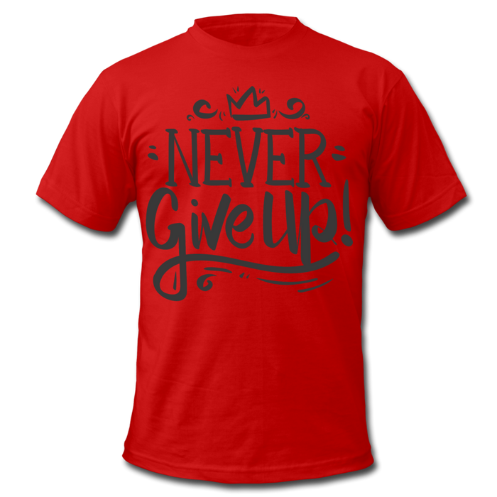 Men's  Jersey T-Shirt - Never Give Up - red
