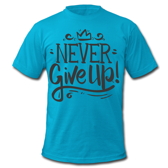 Men's  Jersey T-Shirt - Never Give Up - turquoise