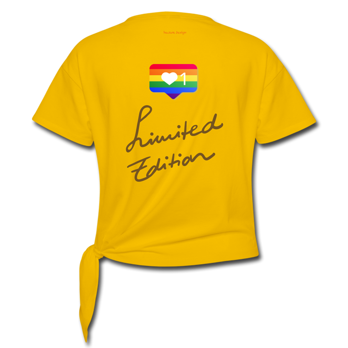 Women' s Knotted T-Shirt - Pride - sun yellow