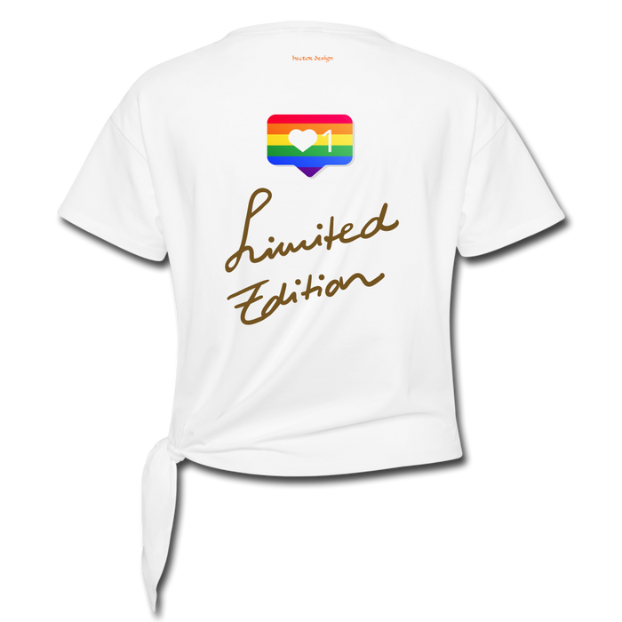Women' s Knotted T-Shirt - Love Wins Pride - white
