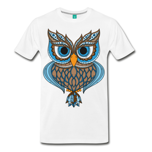 Men's Premium T-Shirt - Owl - white