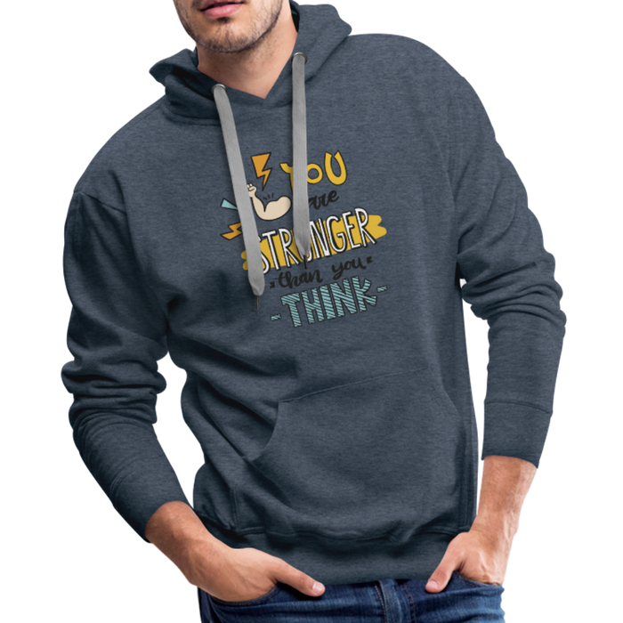 Men's Premium Hoodie - Stronger - heather denim