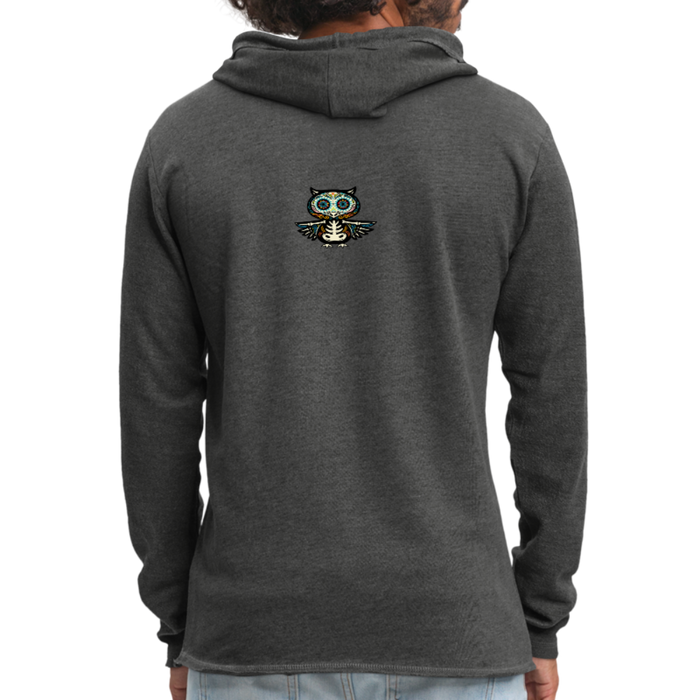 Unisex Lightweight Terry Hoodie - Owl - charcoal gray