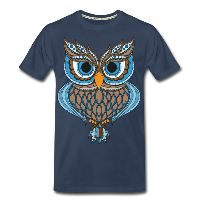 Men's Premium Organic T-Shirt - Owl - navy