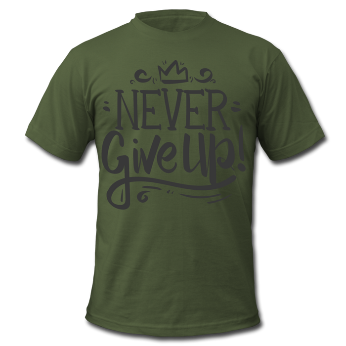 Men's  Jersey T-Shirt - Never Give Up - olive