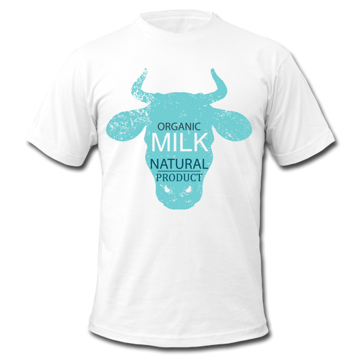 Men's  Jersey T-Shirt - Cow - white