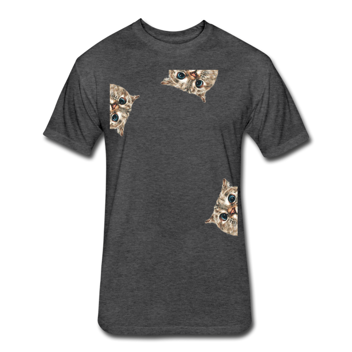 Fitted Cotton/Poly T-Shirt by Next Level - Cat - heather black