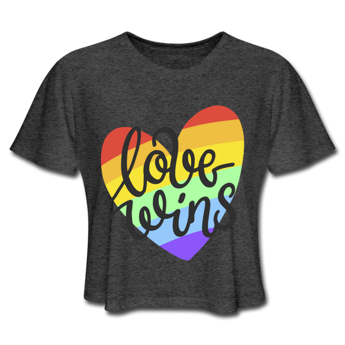 Women's Cropped T-Shirt - Love Wins Pride - deep heather