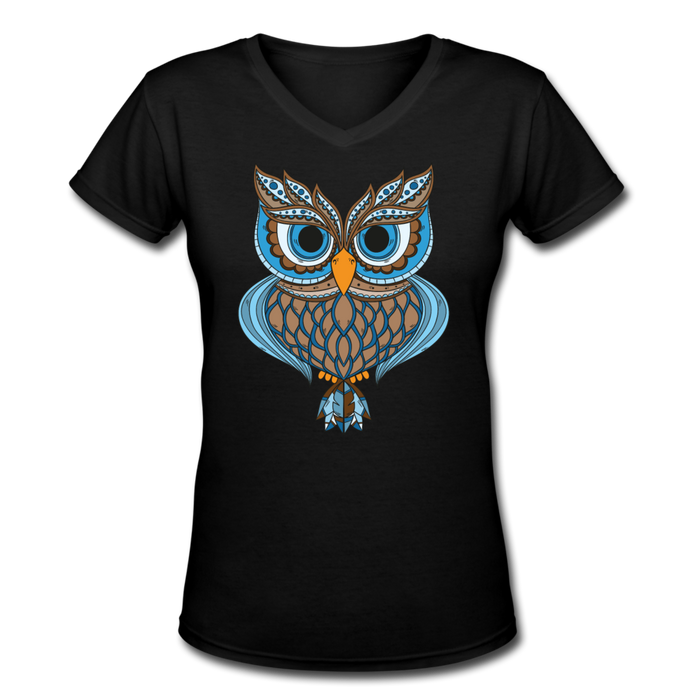 Women's V-Neck T-Shirt - Owl - black