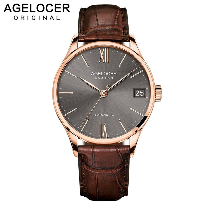 AGELOCER Swiss Luxury Casual Watches for Men Rose Gold Brown Dial Genuine Leather Strap Mechanical Automatic Watches 7073D2