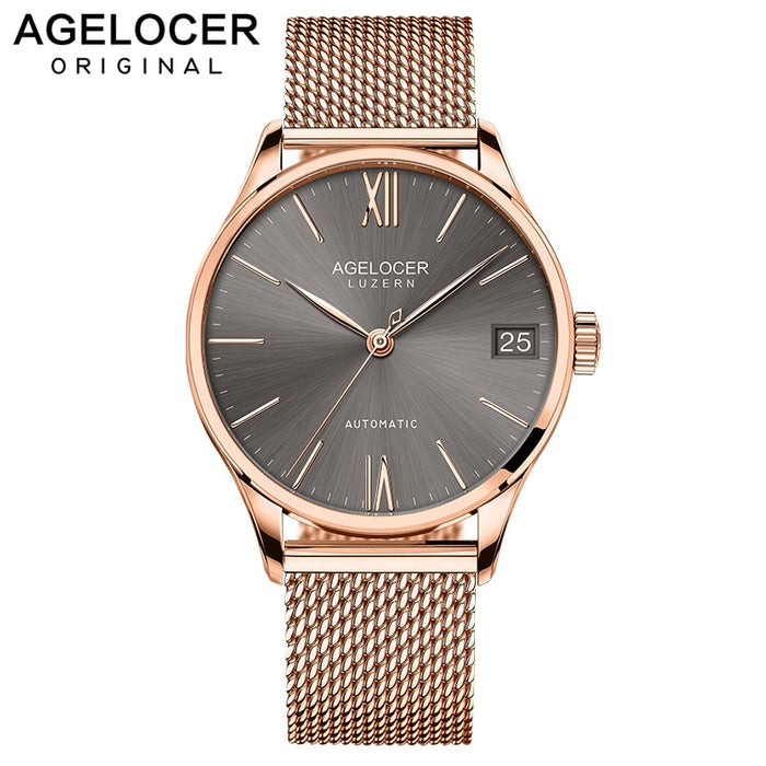 AGELOCER Swiss Mens Watches Brand Luxury Automatic Watches Gold Date New Men Steel Relogio Masculino Fashion Wristwatches 7073D9