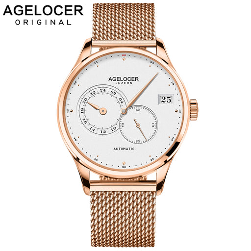 AGELOCER Swiss Self Wind Automatic Mechanical Watches Men Gold Plated 316L Stainless Steel Watch Waterproof Relogio Masculino