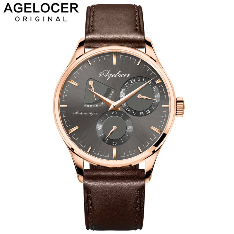 Agelocer Army Retro Watch Men Mechanical Power Reserve 42 Hours Gold 316L Steel Multi-function Watch Auto Date 5ATM Waterproof