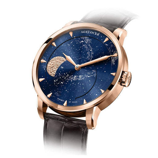 Agelocer Luxury Brand Business Watch for Men Rose Gold Blue Moon Phase Automatic Mechanical Watches relogio masculine 6404D2