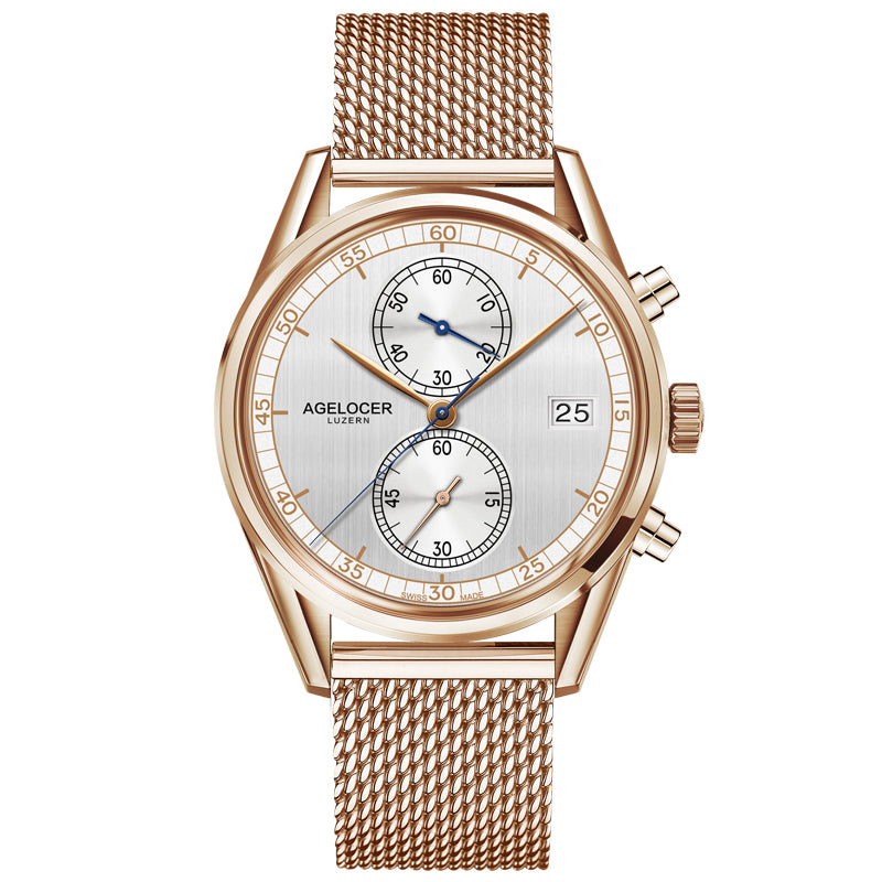 Agelocer Quartz Watches Men Chronograph Wristwatch Waterproof Business Rose Gold Electronics Gift Watch Mens relogio