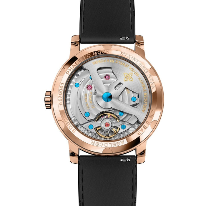 Agelocer Top Brand Designer Watch Men Sapphire Crystal Rose Gold Moon Phase Watches Brown Leather Band 6401D2