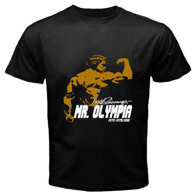 Arnold Schwarzenegger Mr. Olympia Body Building Champ Black T-Shirt Size S-3XL  100% cotton tee shirt,  tops wholesale tee