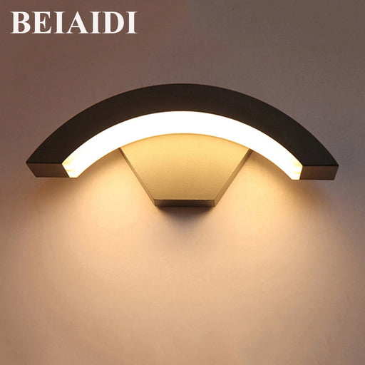 BEIAIDI 12W Waterproof Wall lamp Outdoor Garden Porch Light Aluminum Balcony Courtyard Hotel Villa Outside Lighting Fixture