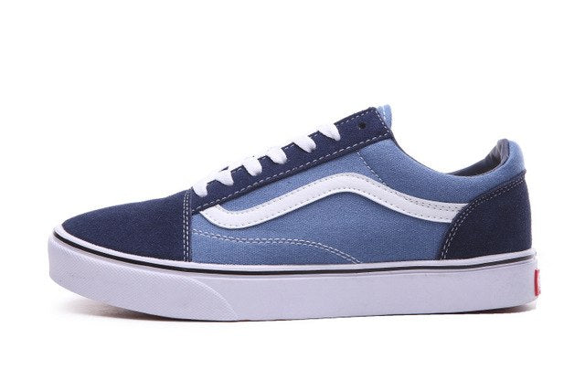 Free Shipping vans Old Skool Classic Black & Blue Sneakers vans shoes High Quality Weight lifting shoes Eur 40-44