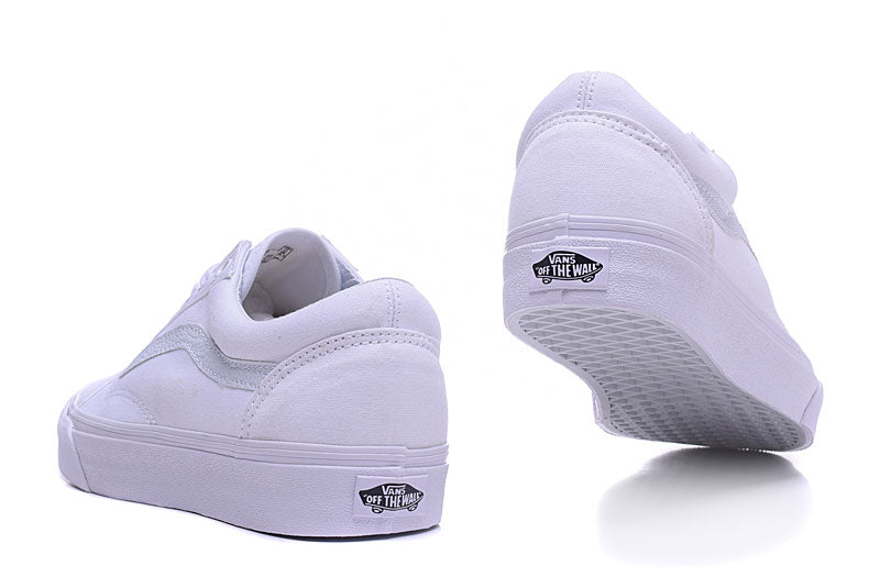 Free Shipping vans classic old skool all white low to help Men's canvas shoes, Sports Shoes, Vans shoes Weight lifting shoes