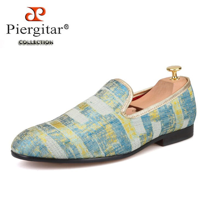 Piergitar 2019 New Two Color Painting style Men Smoking Slipper Men Fashion Plus Size Prom Loafers Men Casual Flats Size US 4-17