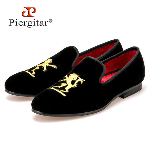 Lion embroidery Velvet Men shoes Men Plus Size Loafers Men wedding Shoe Men Flats Size US4-17Free shipping