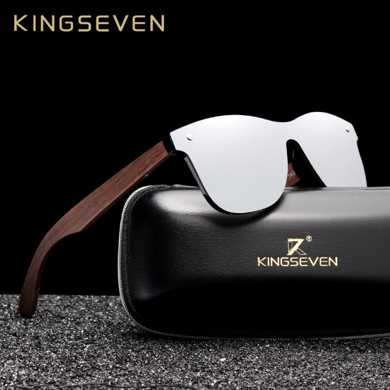KINGSEVEN 2019 Luxury Walnut Wood Sunglasses Polarized Wooden Brand Designer Rimless Mirrored Square Sun Glasses For Women/Men